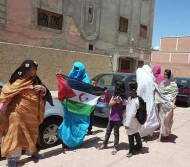 A spontaneous protest in favor of independence in Laayoune, Western Sahara.
